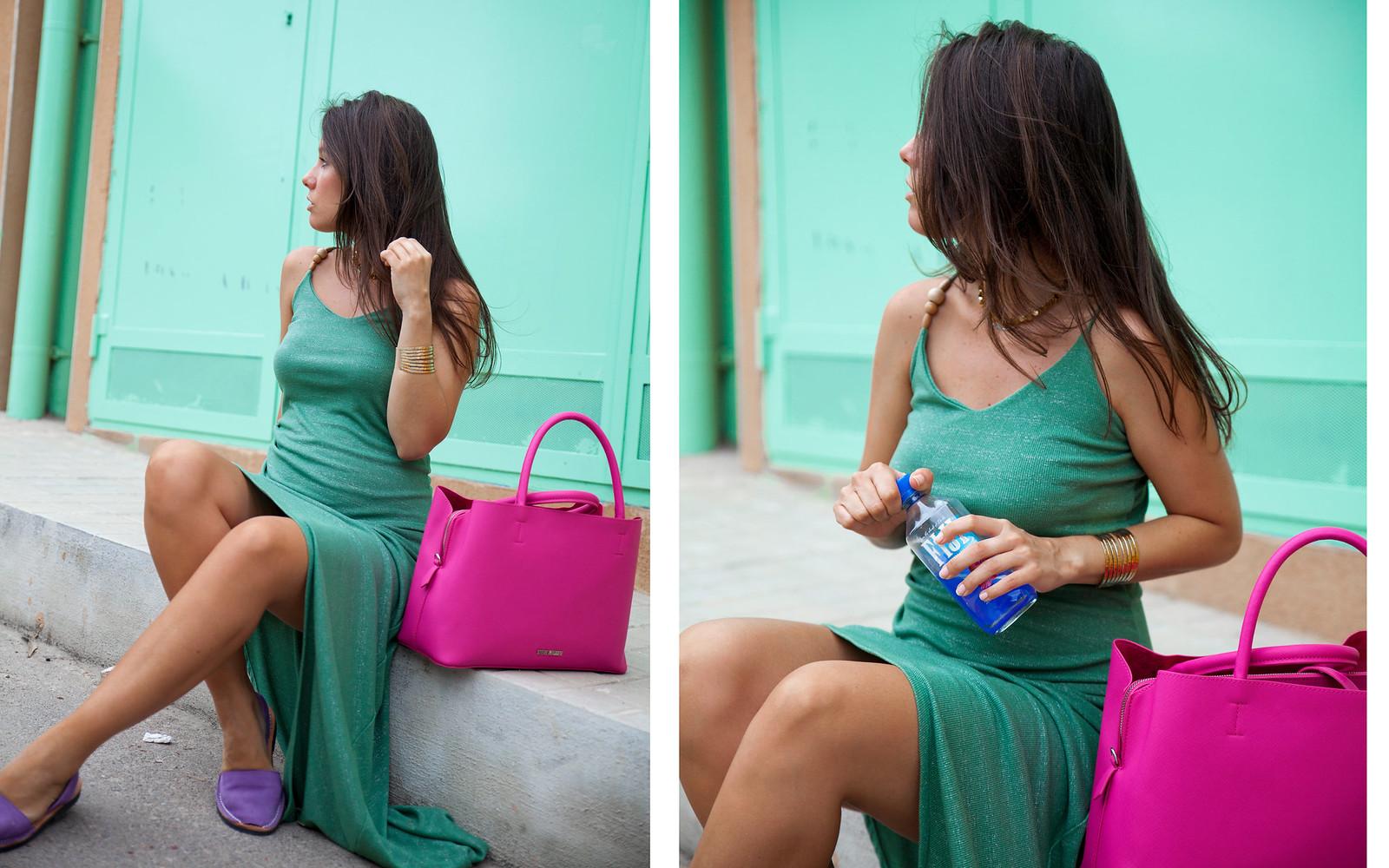 05_Vestido_turquesa_largo_outfit_embarazada_influencer_barcelona_theguestgirl_pregnant_blogger