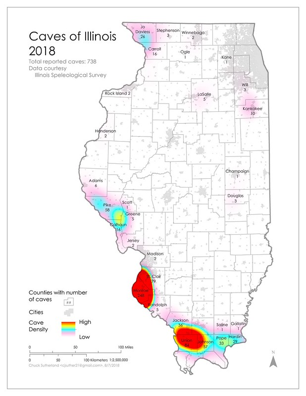 Illinois Cave Distribution Map, data 2018