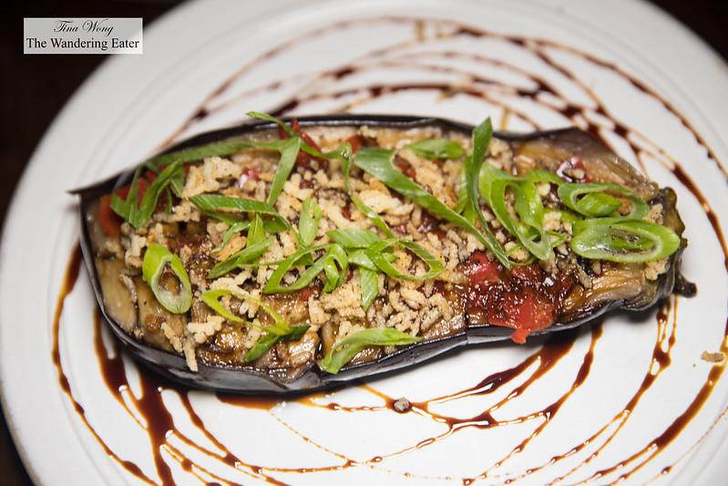 Brinjal soy limang, roasted eggplant, sweet soy, calamansi, fresh sambal, maluku spiced rice puff (Macau)
