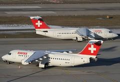 Swiss British Aerospace RJ100s HB-IYT & HB-IXP