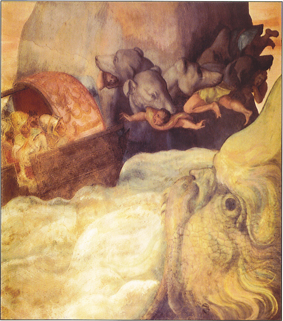Odysseus' ship passing between the six-headed monster Scylla and the whirlpool Charybdis. Scylla has plucked five of Odysseus's men from the boat. The painting is from an Italian fresco by Alessandro Allori, circa 1575.