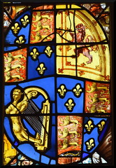 east window: Stuart royal arms