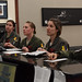 Capt. Lacey Koelling, the 34th Aircraft Maintenance Unit officer in charge, and 34th Bomb Squadron members Capt. Lillian Pryor, a B-1 pilot; Capt. Danielle Zidack, a weapon systems officer; Capt. Lauren Olme, a B-1 pilot; and 1st Lt. Kimberly Auton, a weapon systems officer, conduct a preflight briefing prior to an all-female flight out of Ellsworth Air Force Base, S.D., March 21, 2018. The flight was in honor of Women's History Month and consisted of routine training in the local area. (U.S. Air Force photo by Staff Sgt. Jette Carr)