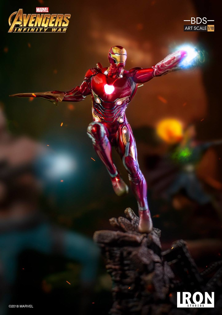 Iron Studios Battle Diorama 系列《復仇者聯盟3:無限之戰》鋼鐵人馬克50 Iron Man MARK XLVIII 1/10 比例決鬥場景雕像作品