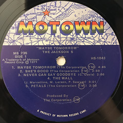 THE JACKSON 5:MAYBE TOMORROW(LABEL SIDE-A)