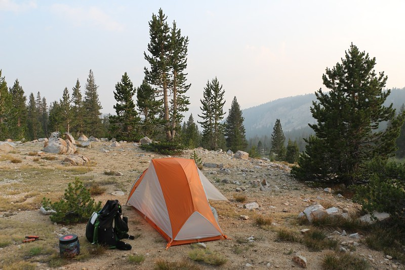 My tent and campsite at Tyndall Creek on the John Muir Trail