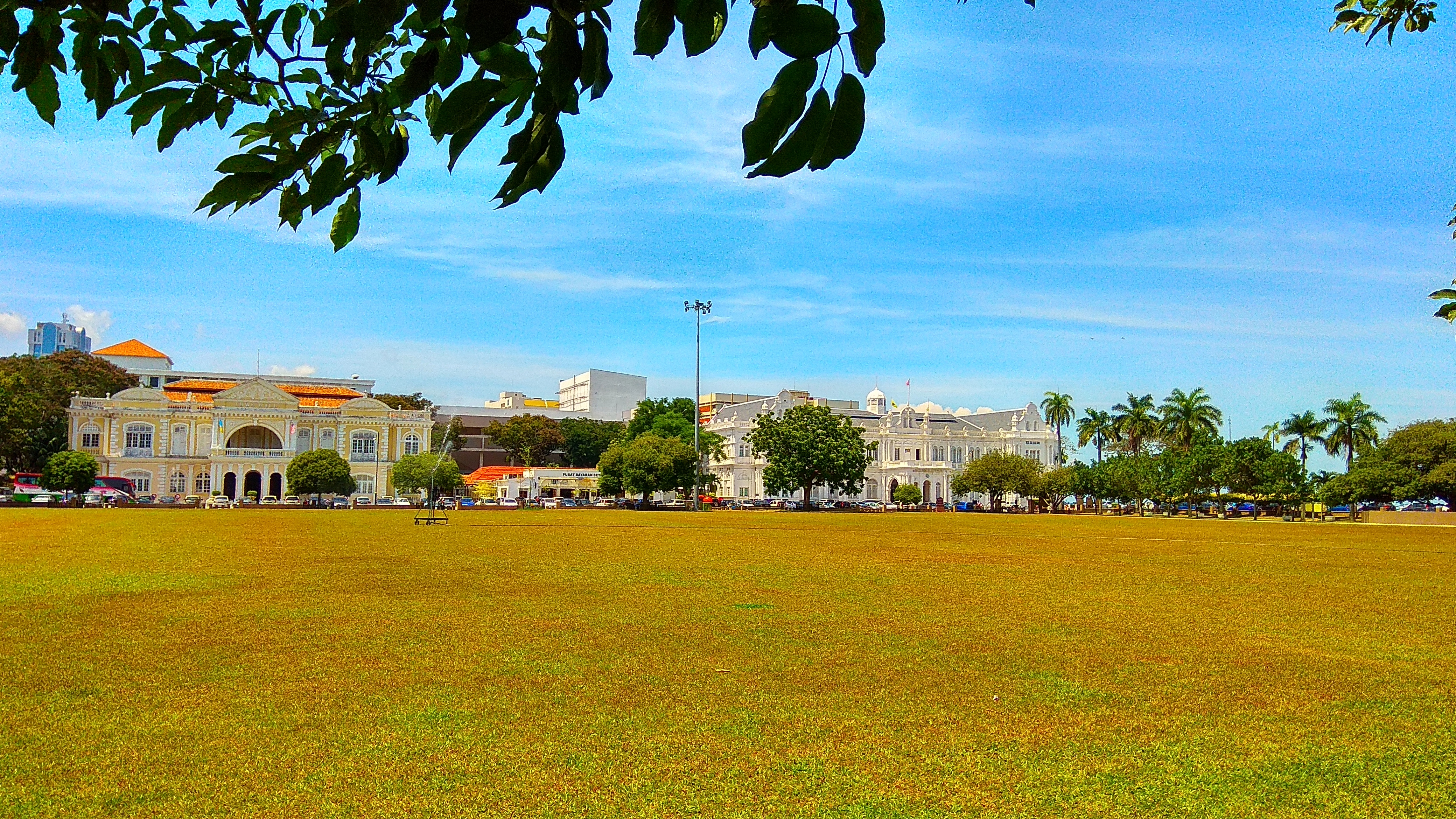 The Padang at the Esplanade in George Town, Penang with Town Hall (on the left) and City Hall (on the right) in the background. Photo taken on January 29, 2016.