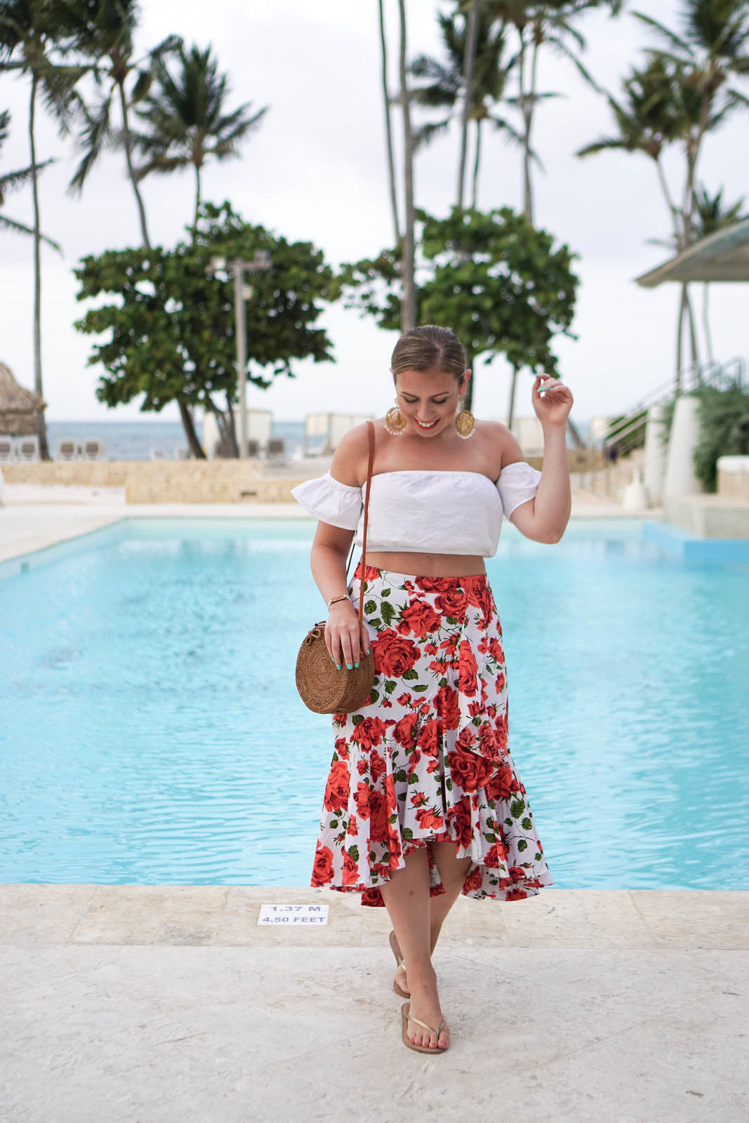 White Off Should Crop Top Red Floral Ruffle Midi Skirt Tropical Vacation Outfit Punta Cana Holiday Summer Palm Trees Beach