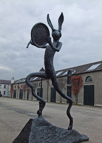 A statue of a wild rabbit in front of the artist's studios at the Irish Museum of Modern Art in Dublin, Ireland