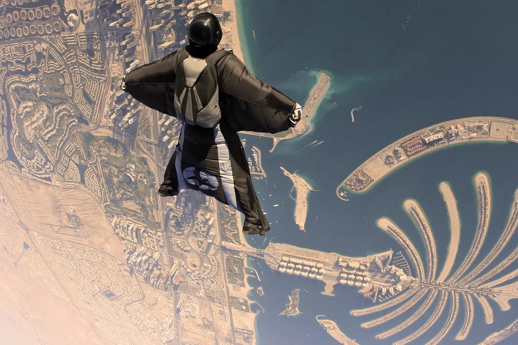 A wingsuit flyer over Palm Islands, Dubai. Photo taken on January 26,2012.