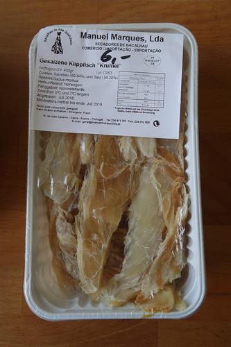Bacalhau = Klippfisch (wie im Portugisischen Geschäft erworben)
