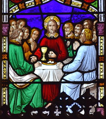 east window: Last Supper (Ward & Nixon, 1850s)
