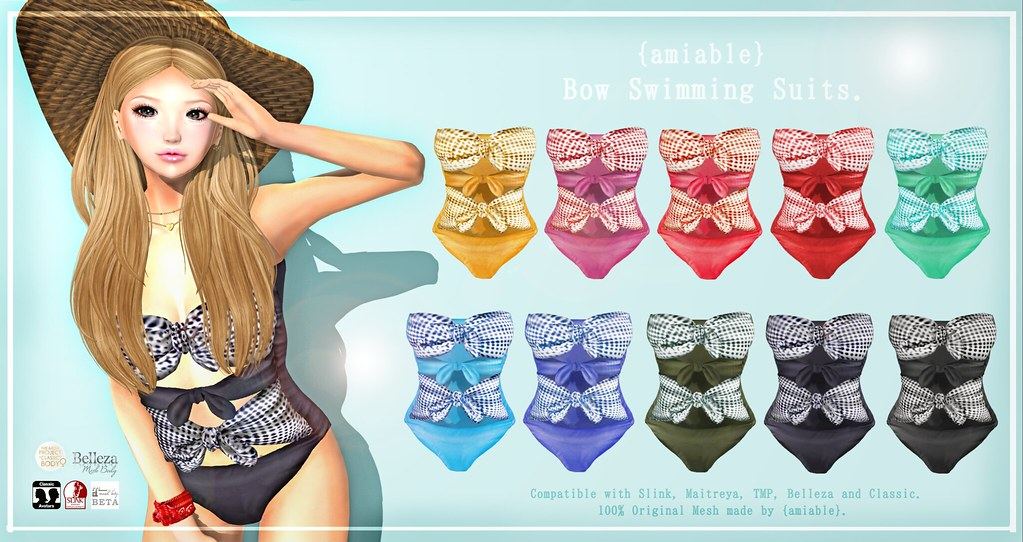 {amiable}Bow Swimming Suit@N°21 JUN(50%OFF SALE). - TeleportHub.com Live!