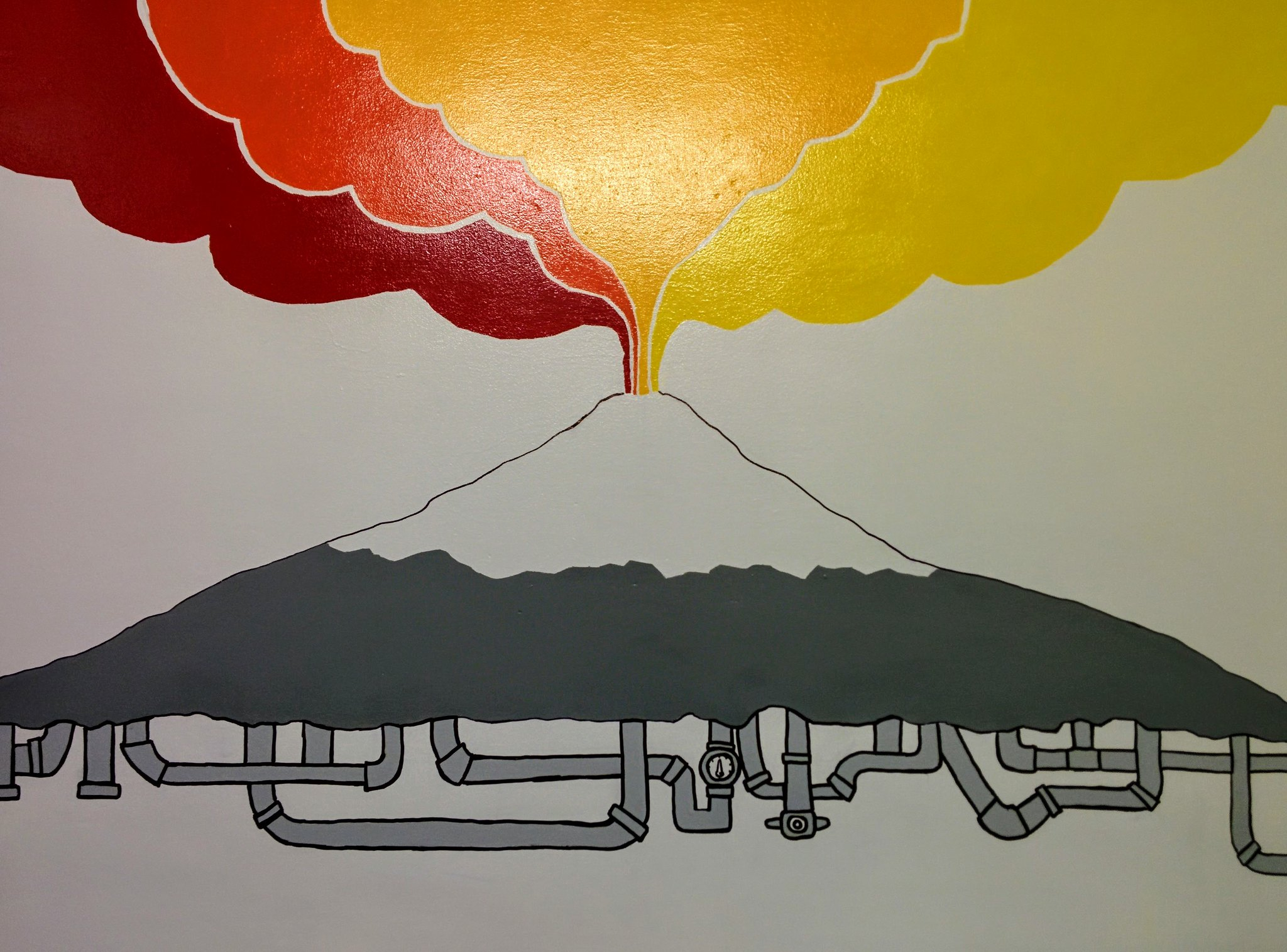 Painting of Volcán Villarrica in the Chili Kiwi hostel (art by Che Kumar)