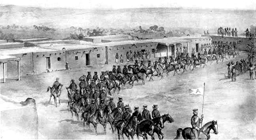 The United States Army leaving Las Vegas, New Mexico in April, 1847, after capturing the city. Illustration from the book