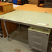 Glass top desk with ped E50