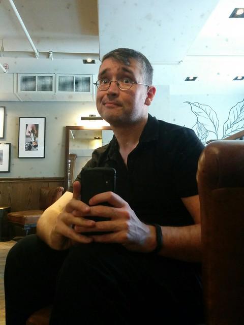 Knowing post-haircut selfie #toronto #me #selfie #churchandwellesley #churchstreet #starbucks #mirror