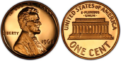 1964 Proof Red Cameo Lincoln Cent