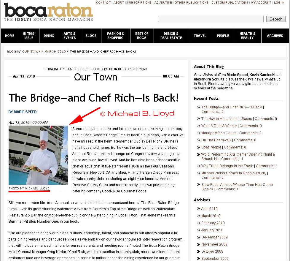 Boca Magazine Editorial  Advert