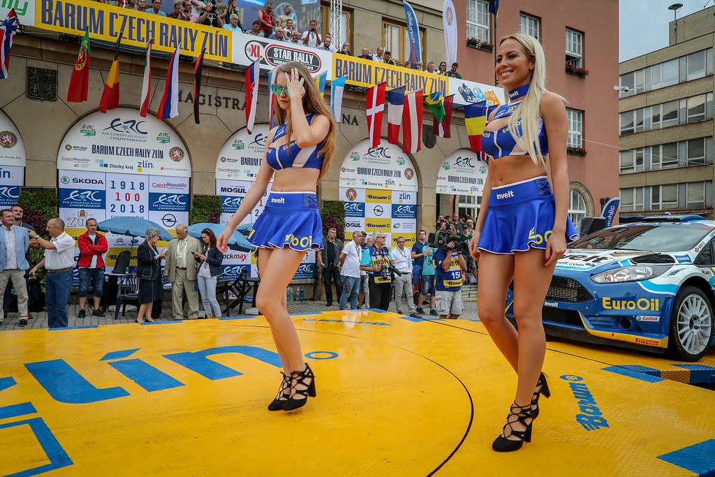girl ambiance during the 2018 European Rally Championship ERC Barum rally,  from August 24 to 26, at Zlin, Czech Republic - Photo Alexandre Guillaumot / DPPI