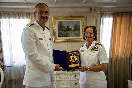 Wed, 08/15/2018 - 13:58 - 180815-N-WO404-007  CONSTANTA, Romania (Aug. 15, 2018) Vice Adm. Lisa M. Franchetti, commander, U.S. 6th Fleet and commander, Naval Striking and Support Forces NATO, is presented a plaque by Vice Adm. Alexandru Mirsu, chief of the Romanian Naval Forces, in Constanta, Romania, Aug. 15, 2018. Franchetti visited Constanta to participate in Romanian Navy Day, which coincided with the 100th anniversary of the unification of Romania following the end of World War I. U.S. 6th Fleet, headquartered in Naples, Italy, conducts the full spectrum of joint and naval operations, often in concert with allied and interagency partners, in order to advance U.S. national interests, security and stability in Europe and Africa. (U.S. Navy photo by Mass Communication Specialist 2nd Class Jonathan Nelson/Released)