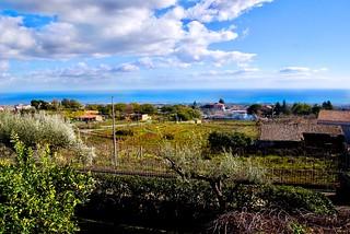 Looking eastward toward the sea from Murgo Winery on the slopes of Mount Aetna, Santa Venerina, Sicily