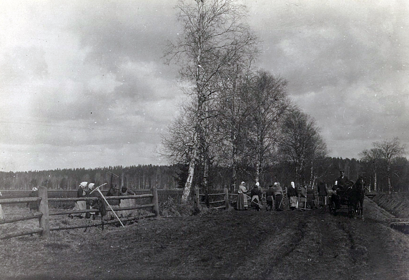 Крестьянки с граблями на сельских работах в Рябово