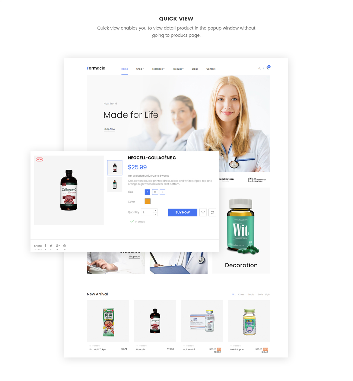 quick view product - pharmacy website