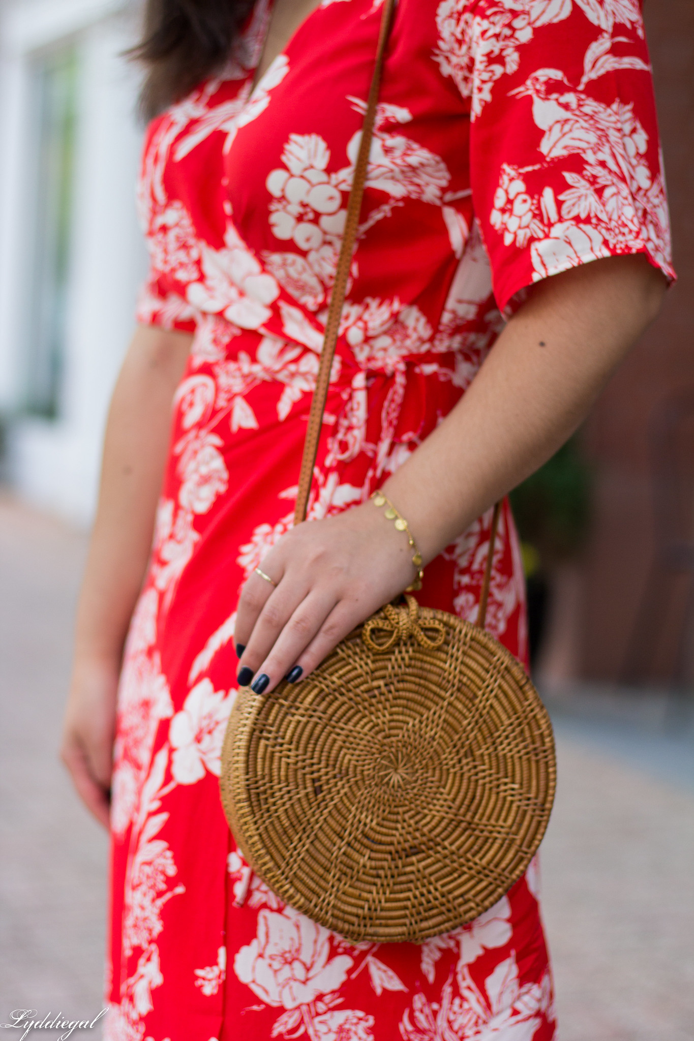 red and white printed wrap dress, round rattan bag, white mules-13.jpg