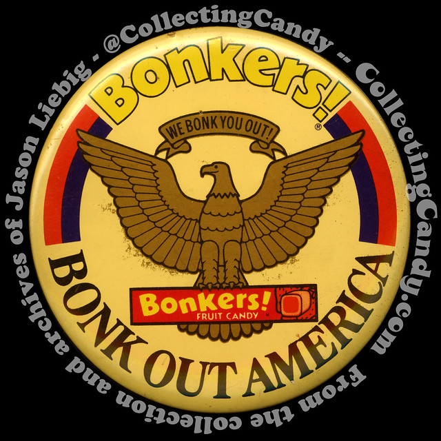 Bonkers candy promotional pinback button - Bonk Out America - 1980's for IG and FB