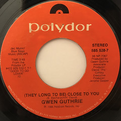 GWEN GUTHRIE:(THEY LONG TO BE)CLOSE TO YOU(LABEL SIDE-A)