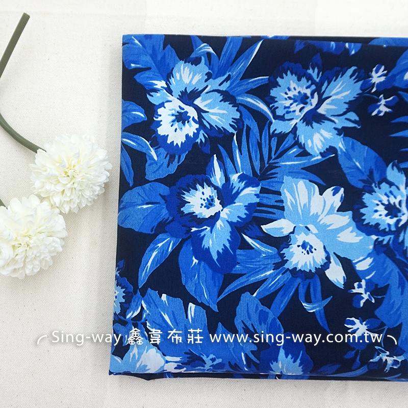 藍花朵 大朵花 花草 大自然 大膽風格 典雅花卉 手工藝布料 CH690407