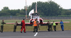 HARD WORK PUSHING RED ARROW NEWCASTLE AIRPORT