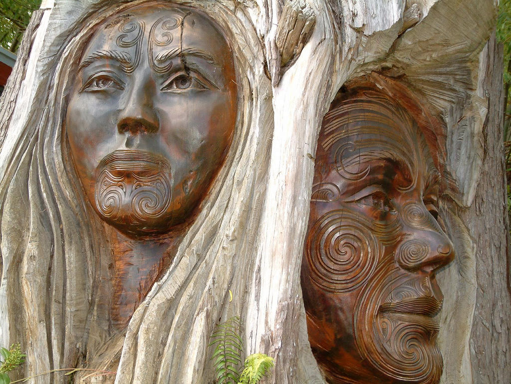 Sculpture of Rangi and Papa next to the entrance to the Abel Tasman National Park, Marahau, Tasman Region, New Zealand