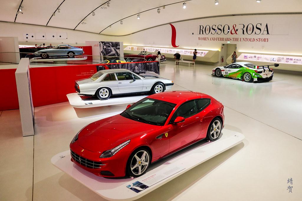 Museum floor with a Ferrari FF