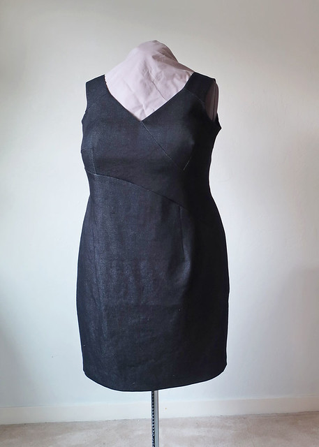 black denim dress front view