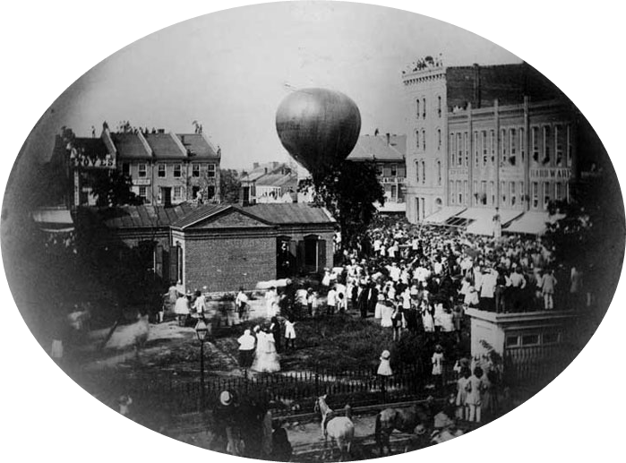 John Wise makes a demonstration ascent of the balloon Jupiter at Lafayette, Indiana, on August 16, 1859.. A failed valve forced him to reschedule his planned flight to New York for the next day, August 17. Photo courtesy of Tippecanoe County Historical Association.