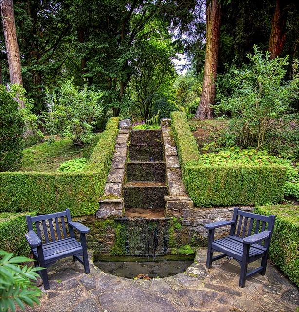 small fountain Parcevall Hall Gardens