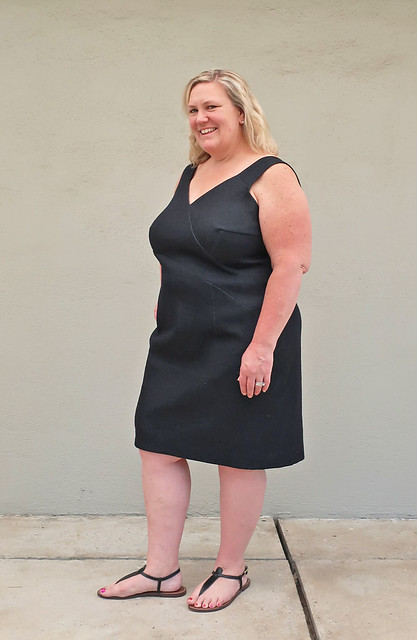 H black denim dress side view