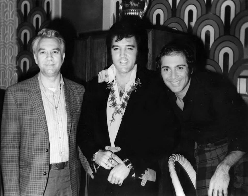 Photo of Elvis Presley with close friends and collaborators Bill Porter and Paul Anka. The photo was taken on August 5, 1972 at the Las Vegas Hilton. Bill Porter was a Nashville sound engineer who worked on many of Presley's recordings in the 1960s.