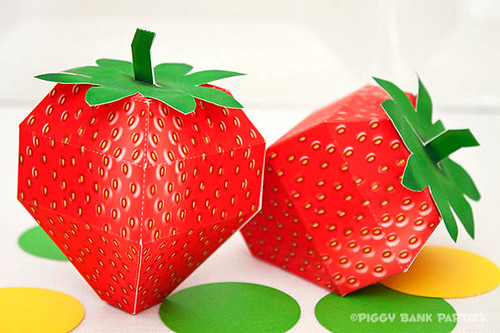 Printable Strawberry Favor Boxes