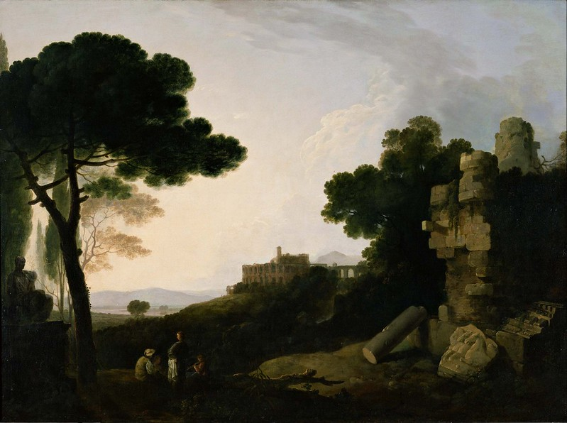Richard Wilson - Landscape Capriccio with Tomb of the Horatii and Curiatii, and the Villa of Maecenas at Tivoli (1754)