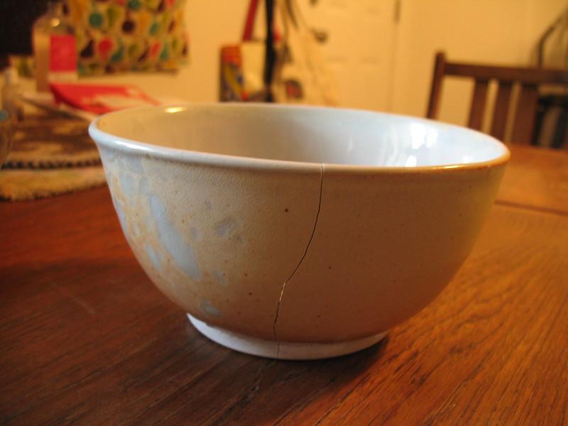 Cracked porcelain bowl