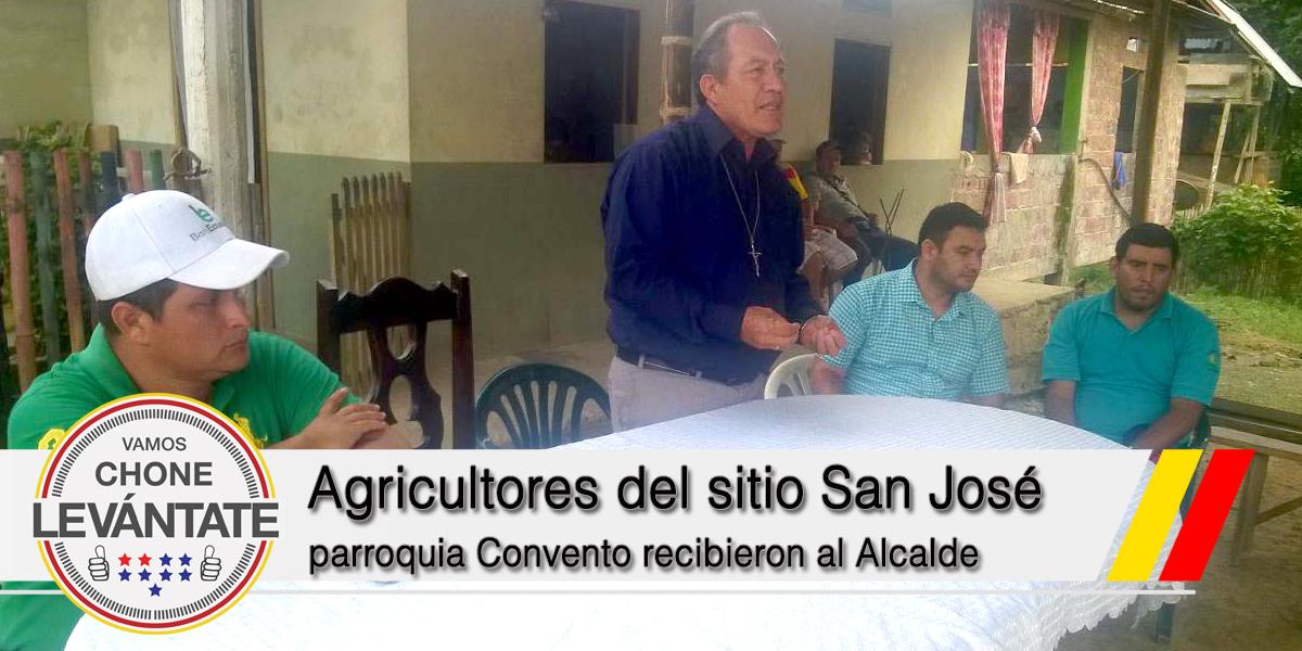 Agricultores del sitio San José parroquia Convento recibieron al Alcalde de Chone