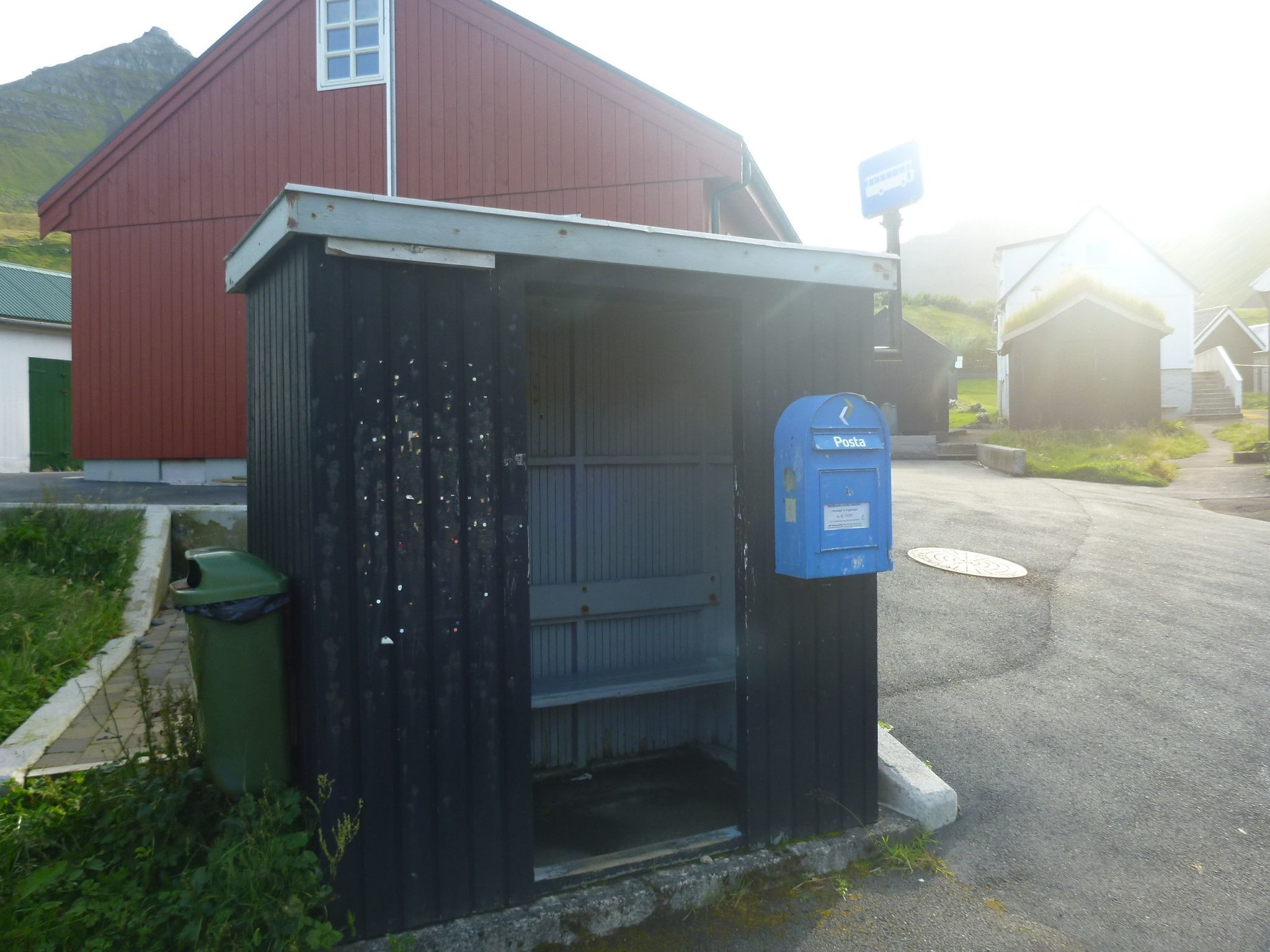 Posta Faroe Islands postbox on the bus stop in Gjógv, Faroe Islands.
