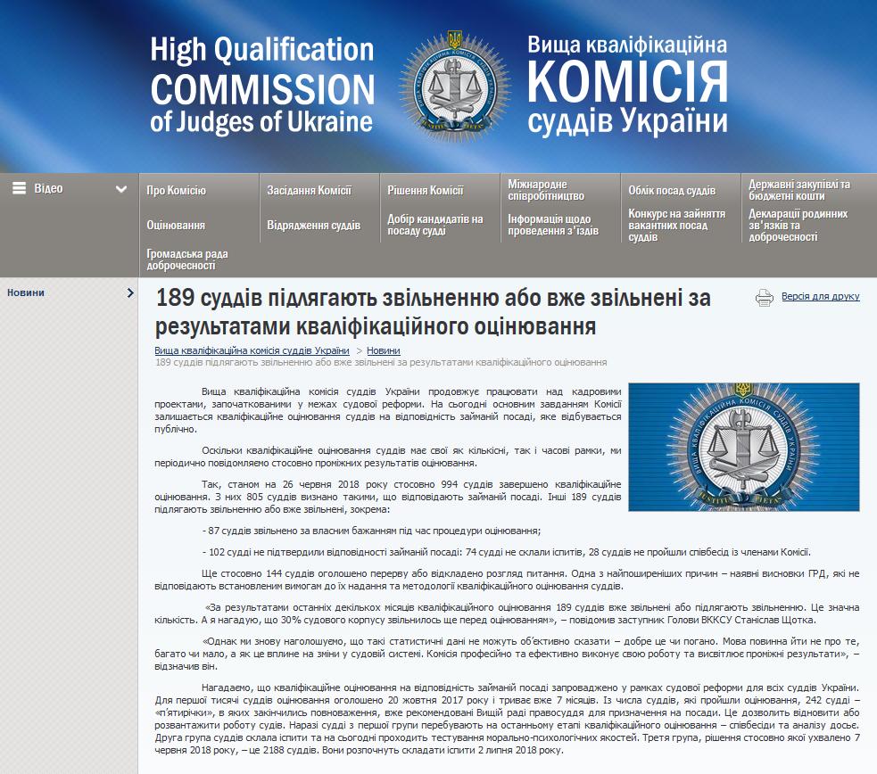 Screenshot_2018-06-29 189 суддів підлягають звільненню або вже звільнені за результатами кваліфікаційного оцінювання