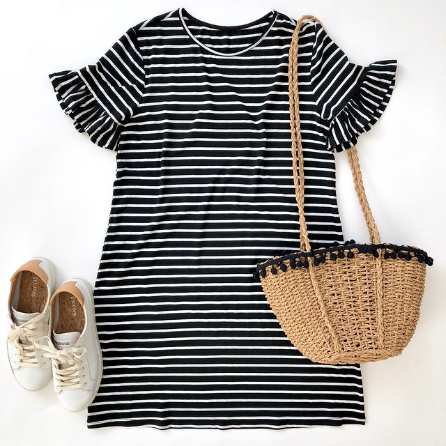 Striped Short Sleeve Loose Swing T-Shirt Dress, size XS