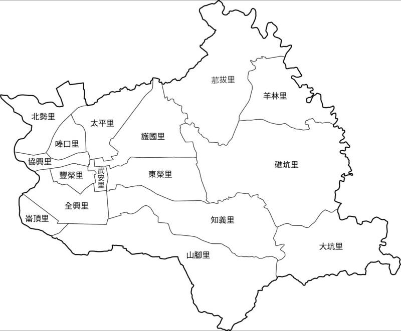 臺南市新化區行政區地圖-16里-有里名無底色