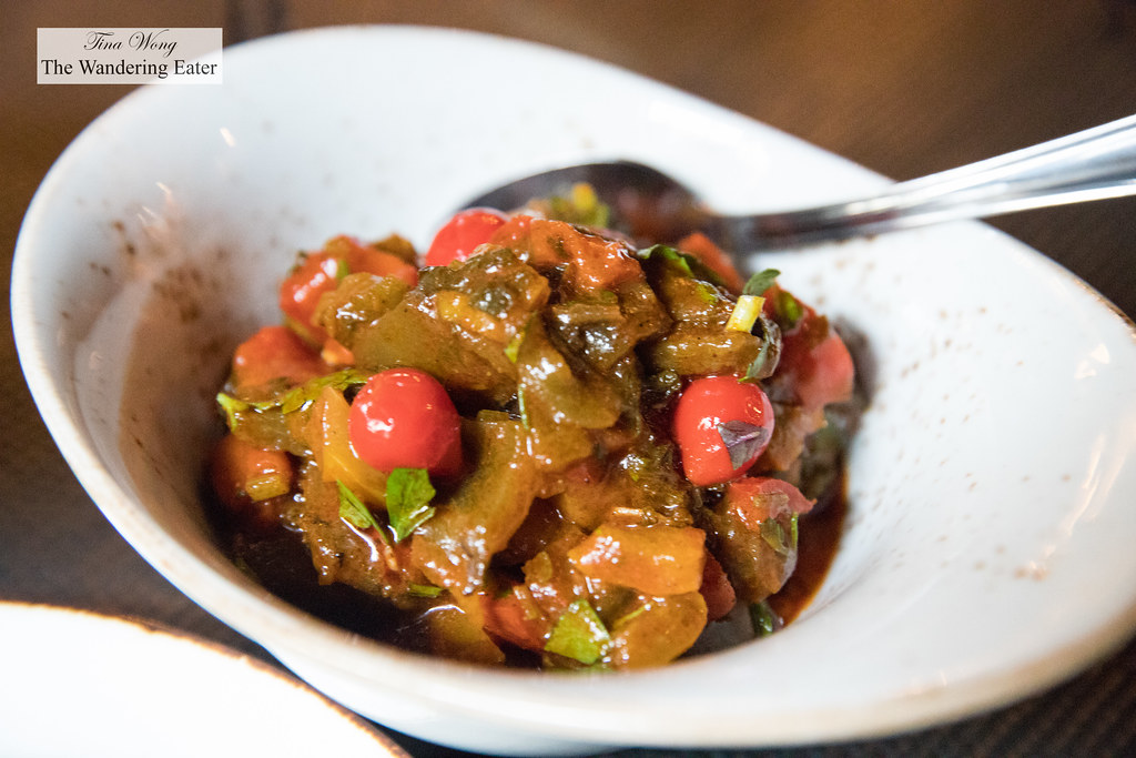 Tatouka (stewed fire roasted peppers, tomato concasse, piquillo stew served cold)