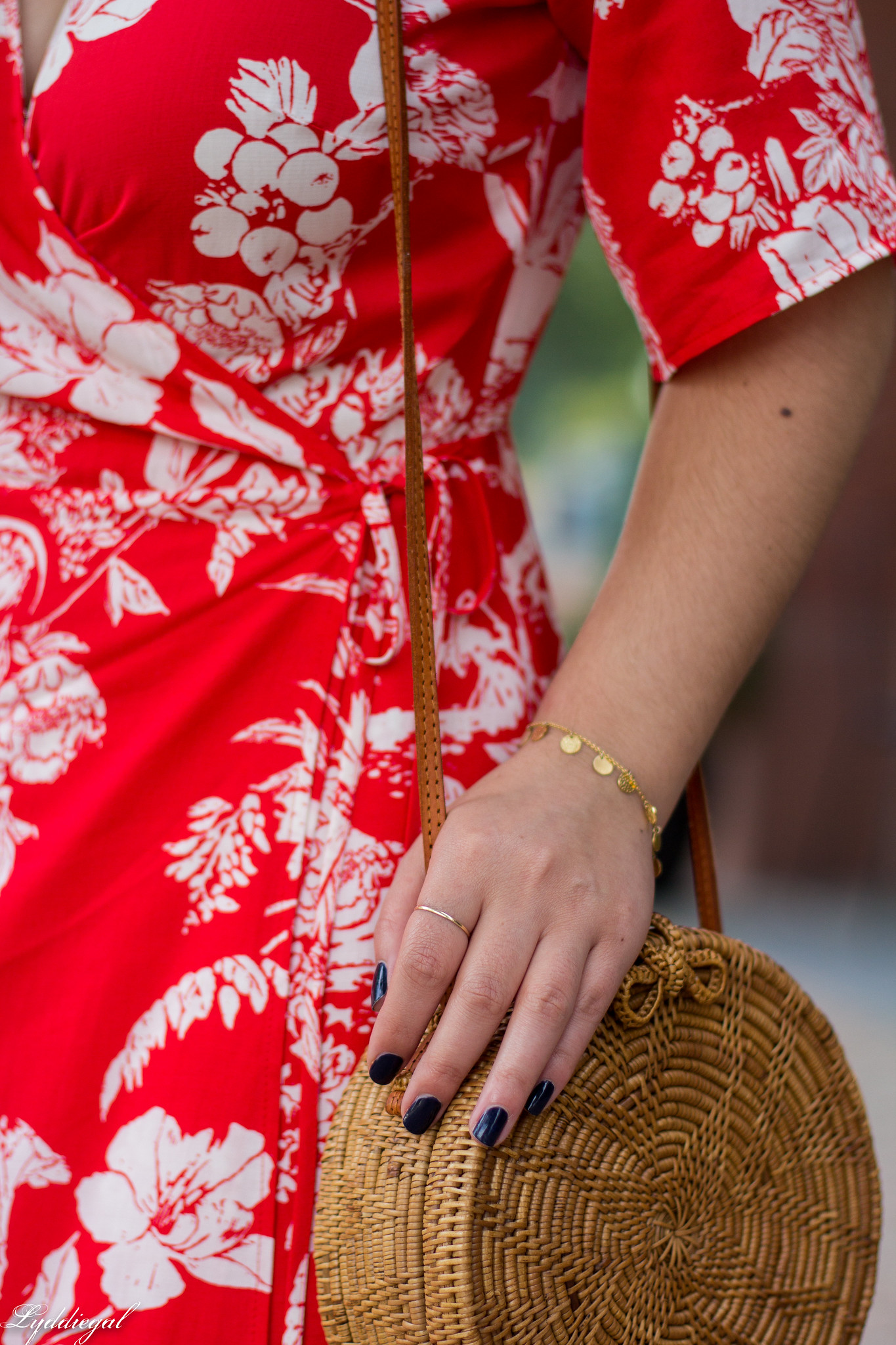 red and white printed wrap dress, round rattan bag, white mules-12.jpg